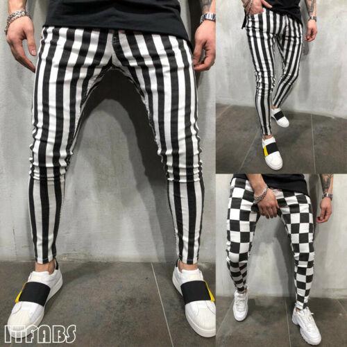 Stylish Men's Fashion Slim Comfortable White Black Striped Plaid Pockets Casual Pants Boys Men Summer Handsome Clothing S-XXL