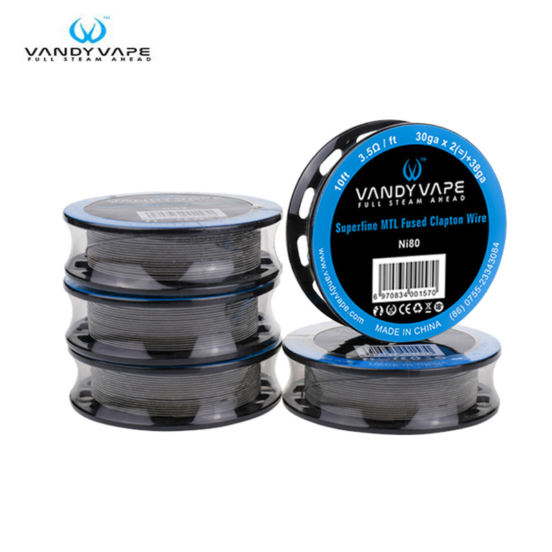 Original Vandy Vape Superfine MTL Fused Clapton Wire Ni80 30ga x 2(=)+38ga 10ft / SS316L 30ga X 2(=)+38ga 10ft