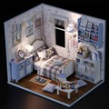 DIY 3D Doll house Wood Happy Sunshine Models 3D Miniature Dollhouse Educational Toys Girl Gifts With LED+Furniture