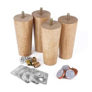 """Image 1 - 4.7 """"meubles en bois massif canapé jambes ensemble M8 boulon chêne conique remplacement canapé banc chaise Table basse armoire jambe ensemble de 4"""