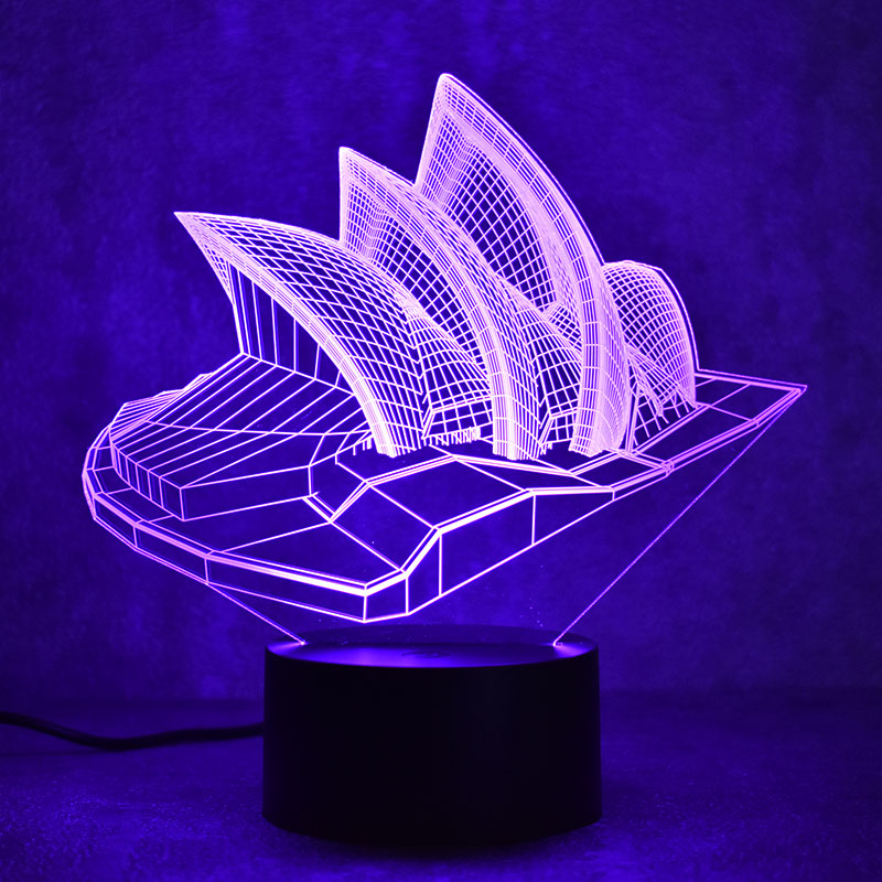 Novelty 3D LED Table Lamp Visual Sydney Colorful Light Fixture USB - Night Lights - Photo 5
