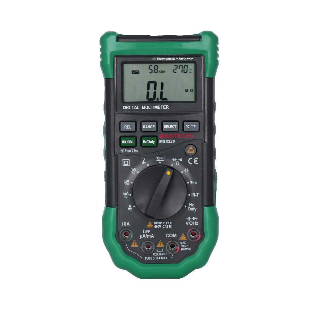 MASTECH MS8228 Automatic range 4000 Counts professional electrical digital multimeters  IR Thermometer Relative Humidity Tester mastech ms8260f 4000 counts auto range megohmmeter dmm frequency capacitor w ncv