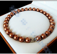 14mm AAA Chocolate South Sea shell Pearl Necklace 18>>>Lovely Women's Wedding Jewelry Pretty