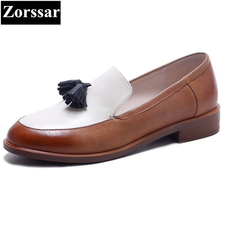 Genuine leather Flat Oxford Shoes Woman flats 2017 fashion Tassel British style Oxford shoes women Flat Heel Leather shoes lovexss casual oxford shoes fashion metal decoration shallow shoes black purple genuine leather flats woman casual oxford shoes