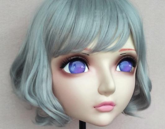 (DM045) Girl Sweet Resin Japanese Anime Kigurumi Mask Cosplay Lolita Lifelike Crossdressing Masks Dressing with BJD Eyes