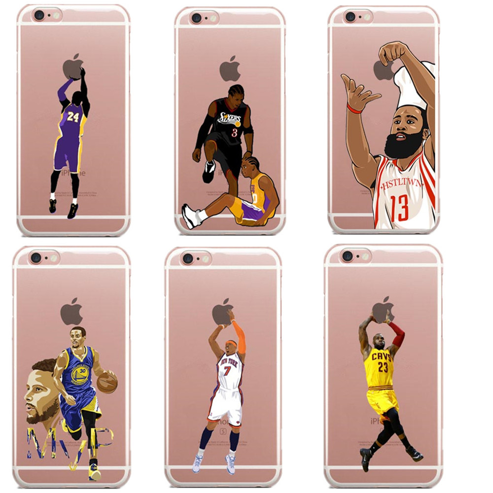 lebron iphone 7 plus case. nba star basketball player phone case for iphone se 5s 6 6s 7 plus jordan 23 lebron