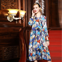 A6HT717 Europe And America Early Autumn Women S Clothing Silk Printing Dress Autumn 100 Silk Loose
