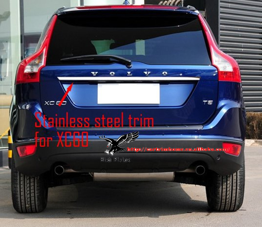 Stainless Steel Chrome Rear Trunk Lid Cover Tail Door Molding Trim For Volvo XC60 2008 2009 2010 2011 2012 2013 car rear trunk security shield shade cargo cover for nissan qashqai 2008 2009 2010 2011 2012 2013 black beige