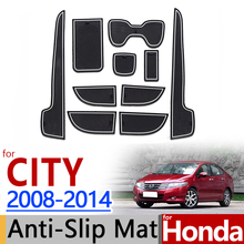 For Honda City 2008 2014 Anti Slip Rubber Cup Cushion Door Groove Mat 2009  2010 2011 2012 2013 Accessories Car Styling Sticker