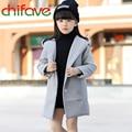 Chifave 2016 Nova Moda Inverno Crianças Roupas Meninas Sólidos Turn-down Collar Grosso Crianças Quentes Meninas Outerwear Casaco 2 cores