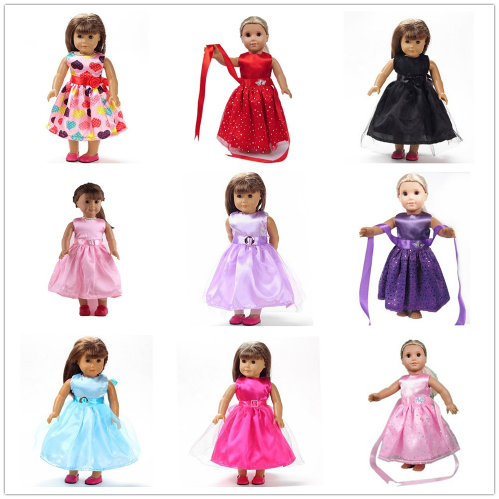 9 Colors American Girl Doll Dress 18 Inch Doll Clothes And Accessories Dresses 9 colors american girl doll dress 18 inch doll clothes and accessories dresses