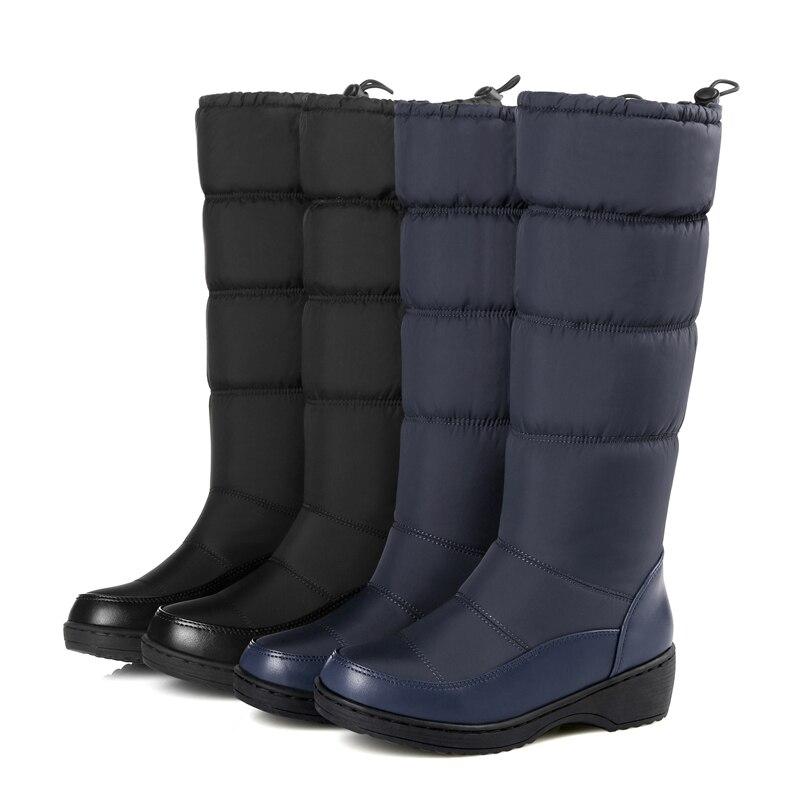 La Taille Noir Femmes Nouveau Chaudes Antidérapant Marque Chaussures Plus Neige blanc 2018 bleu Bottes Étanche Hiver Coton 6A76O