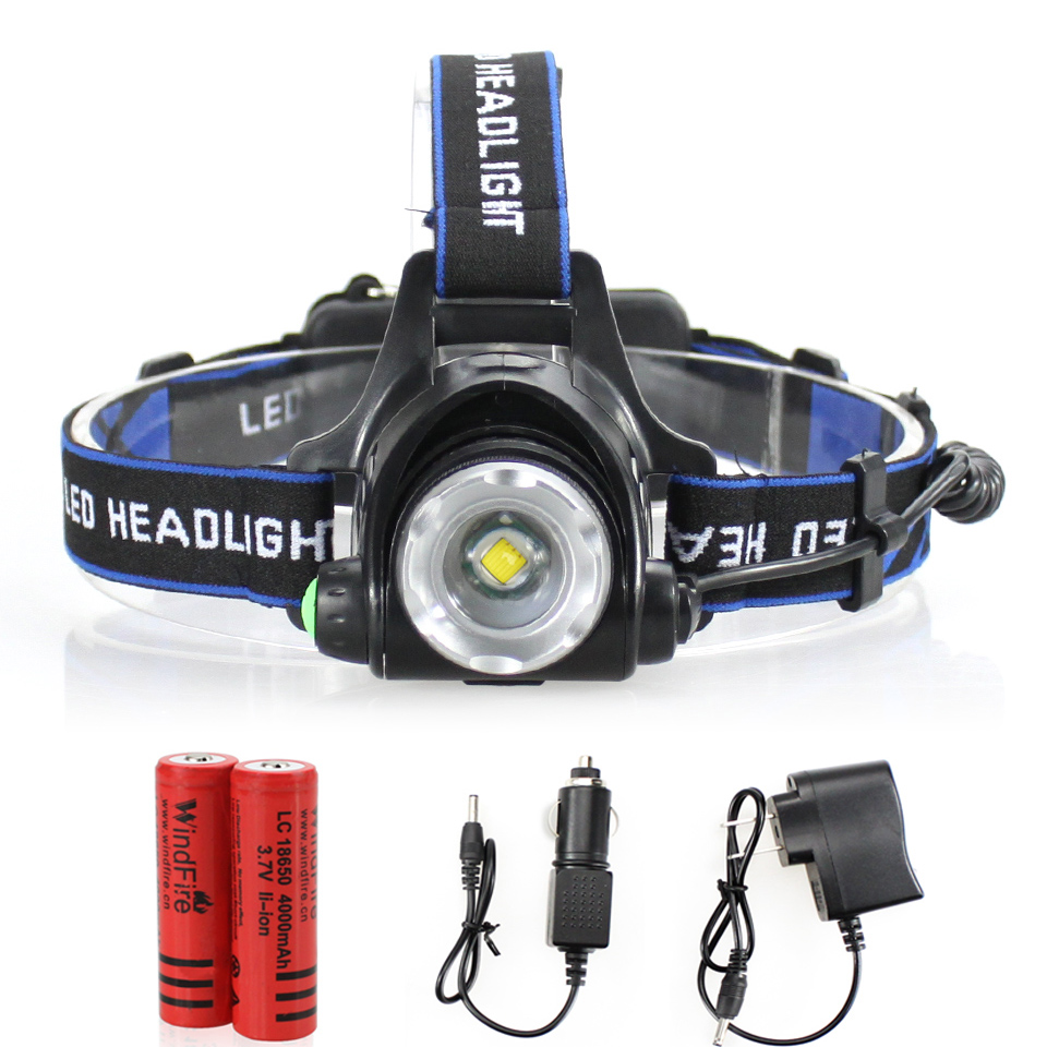 LED Headlamp Cree XM L T6 led 2000LM rechargeable Head ...