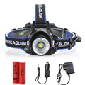 LED Headlamp Cree XM-L T6 led 2000LM rechargeable Head lamps Headlights lamp lights +18650 battery + Charger Head light