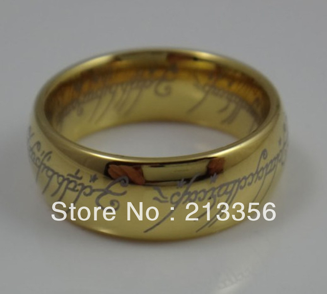 Free Shipping !Cheap Price Promotion Sales!USA Hot Selling Tungsten Carbide Ring Lord of the Rings Men's Gold Wedding Band Ring