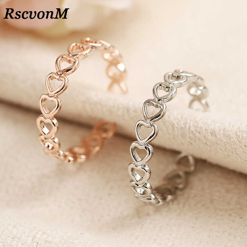 Silver Colour Hollowed-out Heart Shape Open Ring Design Cute Fashion Love Jewelry For Women Young Girl Child Gifts Adjustable