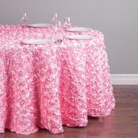 Custom Order Are Welcome 118 in. Polyester 300cm Round Rosette Satin Feel Tablecloth Pink for Ceremony Wedding, 5/Pack