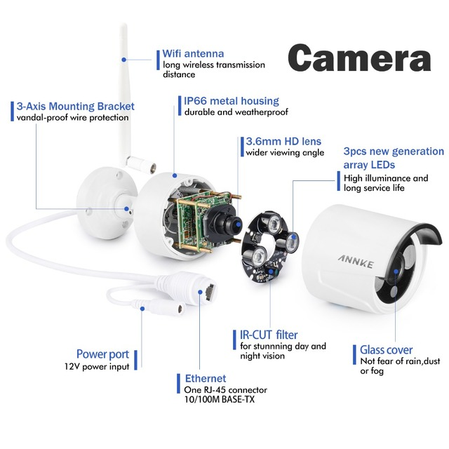 SANNCE 4CH Wireless CCTV System 720P HD NVR kit Outdoor IR Night IP Camera wifi Camera Security System Surveillance Kits