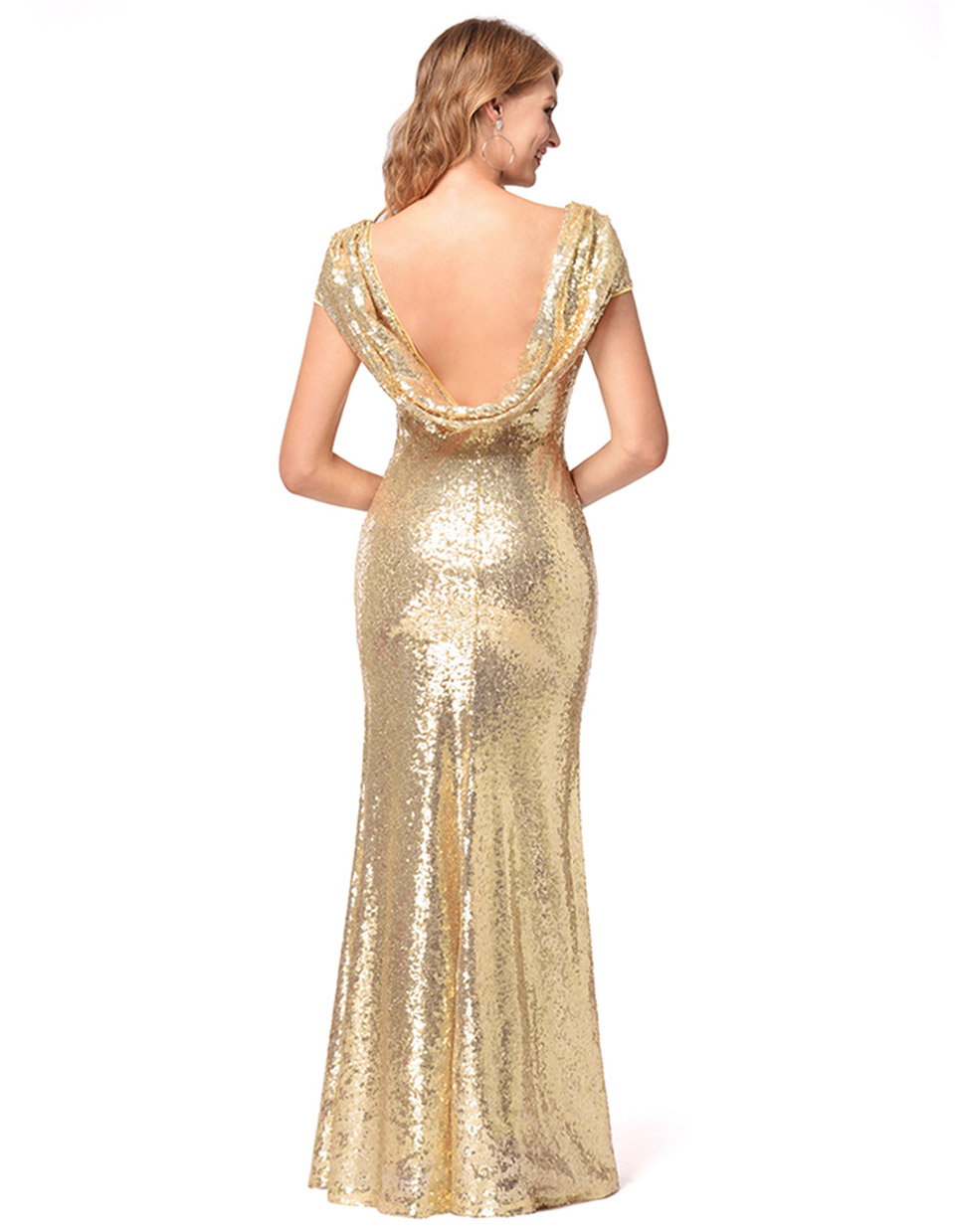 Luxury Gold Silver Long Sequin Dress Gold O Neck Evening Gowns short  Sleevele Prom Formal Dresses Mermaid Long Formal Dress ... 6b00026c0230