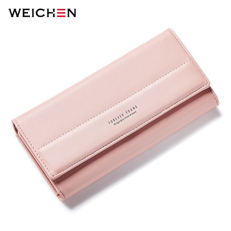 2018 New Brand Designer Simple Long Solid Hasp 3 Fold Women Wallet Lady Coin Purses Card Holder Package PU Leather Money Bags takem 2018 new women backpack 3 piece set pu leather lady laptop backpacks card package hairball decorative fashion bags