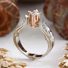 ZHOUYANG, свадебные кольца для женщин, Роскошные, в форме розы, кубический цирконий, кристалл, двойной цвет, вечерние, подарок, модное ювелирное изделие, KAR311