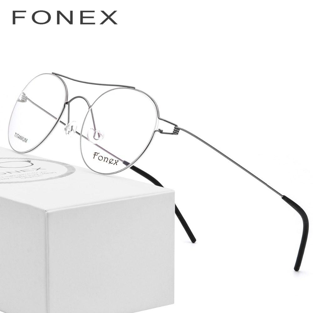 7c6c248b525 Titanium Alloy Optical Glasses Frame Women Vintage Myopia Prescription  Eyeglasses Men Red Korean Denmark Screwless Eyewear