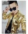 2016 New Fashion DJ Bigbang Gold GD Concert Motorcycle Jacket Leather Jacket Men's Singer Clothing / S-5XL