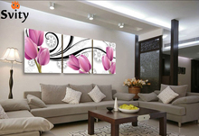 3 PanelsThe charming purple tulip Modern Wall Painting Home Decorative Art Picture Paint on Canvas Prints