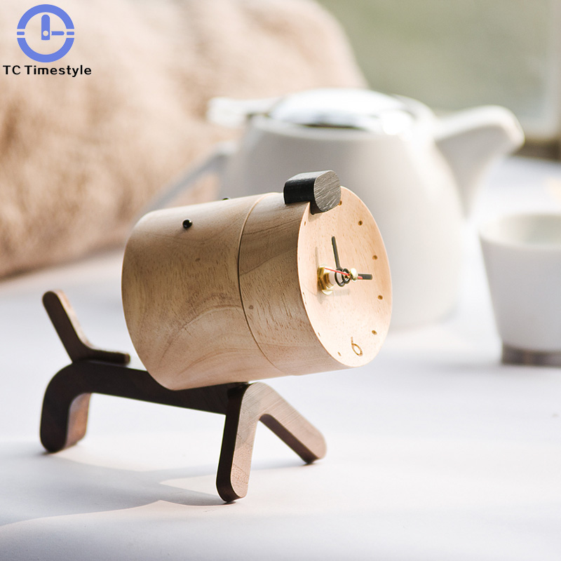 Handmade Solid Wood Alarm Clock Creative Personality Lovely Solid Animal Desktop Electronic Small Mute Creative Home Decoration