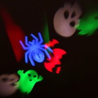 Halloween Christmas Projector Lamp 4 Replaceable Colorful Patterns Night Lamp Ghost Bat Spider Skull Fairy Stage