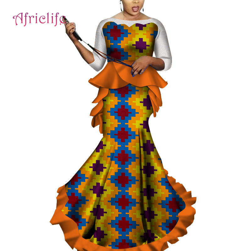 2019 African Women 2 Pieces Set Dashiki Cotton Print Wax Lace Sleeve Top and Skirt Set Plus Size african kanga clothing WY3464