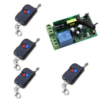 New Wide Voltage RF Wireless Remote Control AC 85 250 V 10A 1 CH 1* Receiver +4* Transmitters 2 Keys Self lock 315/433Mhz