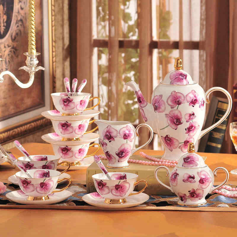 Export European-style Phalaenopsis coffee set suit large high-grade coffee cup set bone china bonus Spoon