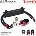 Wlr-универсальный 10 рядов масляный радиатор + Масляный фильтр Сэндвич адаптер + SS нейлон нержавеющая сталь плетеный AN10 шланг для BMW