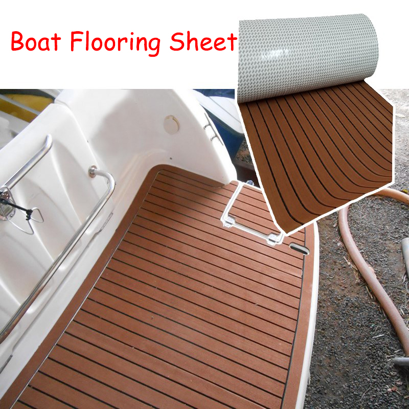 Non Skid Boat Flooring: 600x2400x5mm EVA Foam Imitated Teak Boat Deck Mat Brown