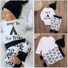 Cotton Newborn Baby Boys Girls Tops Romper+ Long Pants Hat Outfits Set 3pcs New