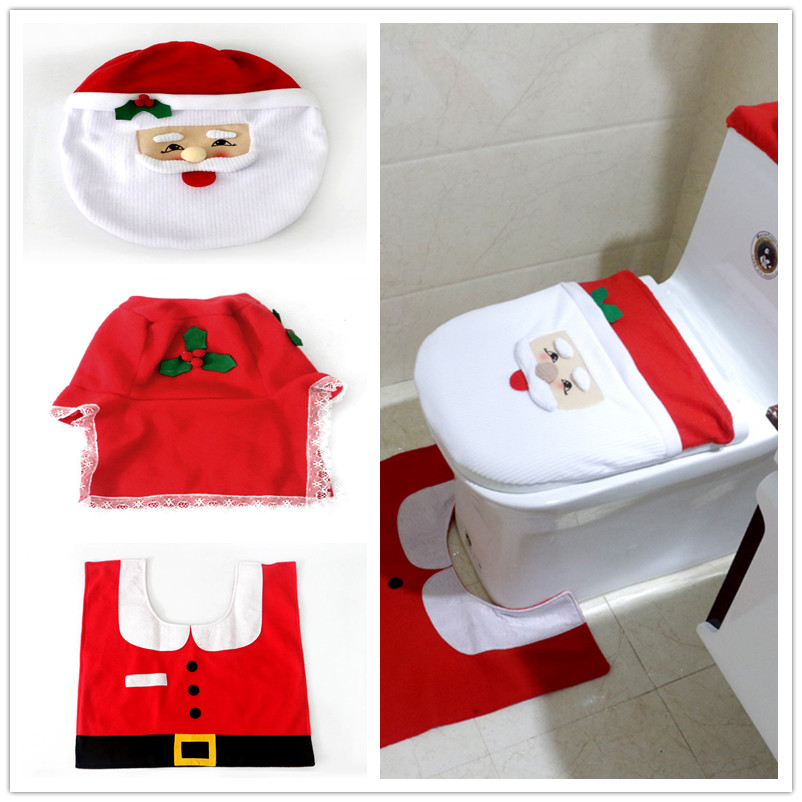 1 Set Christmas Toilet Seat Cover Mat Bathroom Party DIY Decorations In Accessories Sets From Home Garden On Aliexpress