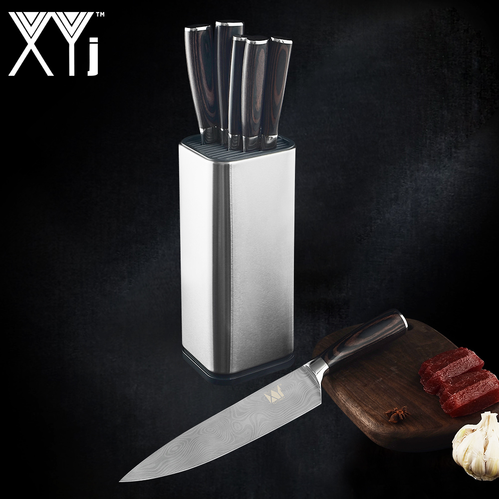 XYj-Kitchen-Stainless-Steel-Knives-Set-With-Stand-Holder-Block-Tool-Fruit-Utility-Santoku-Chef-Slicer