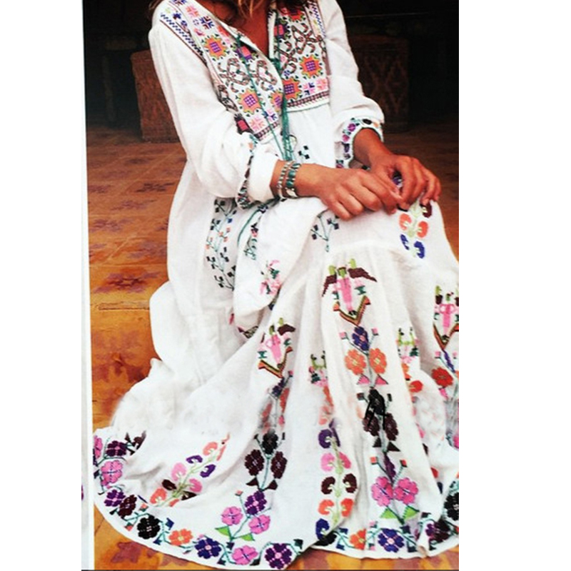 Kiyumi Cotton Floral Embroidery Maxi Dress Long Sleeve Tassel V-Neck Vintage Summer Dresses Boho Chic Women Dress Brand Clothing