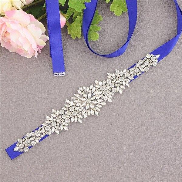 Rhinestone Belt Crystal Bride Wedding Dress Belt Sash Satin Ribbon Bridal Accessories cinturon flores