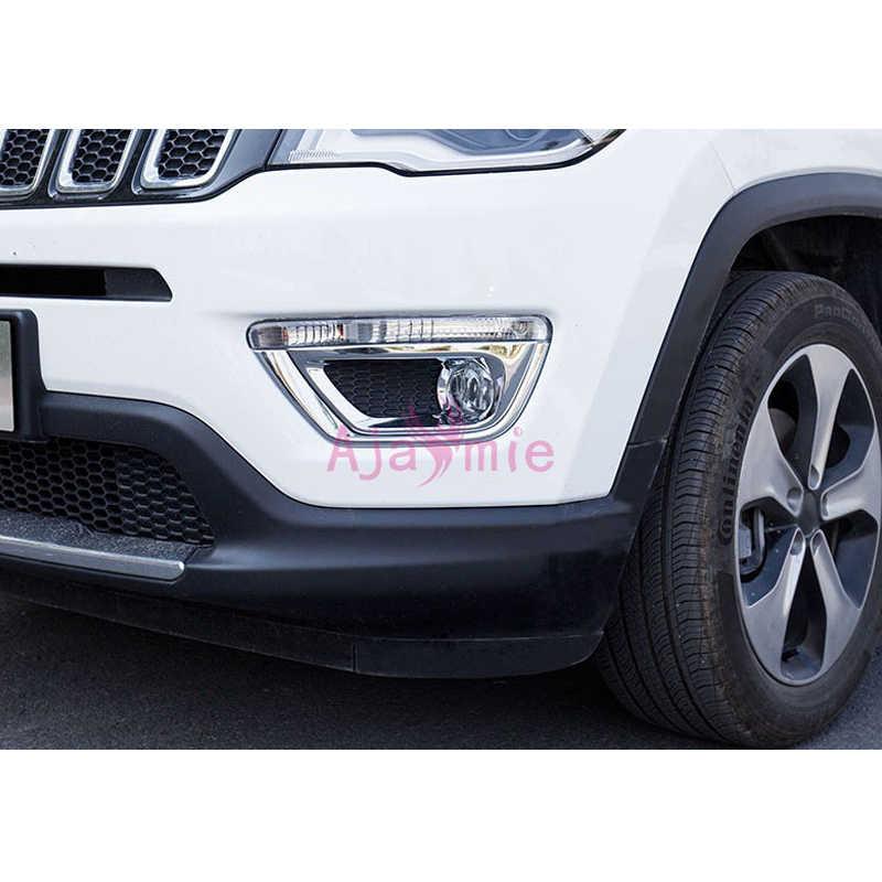 Хромированная Серебристая передняя противотуманная фара крышка световая накладка накладная Панель рамка год 2017 2019 для Jeep Compass аксессуары для стайлинга автомобилей