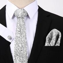 Hanky Cufflink Set For Men Formal Wedding Party Business Hot Mens Tie White Floral 100% Silk Jacquard Woven Gravata