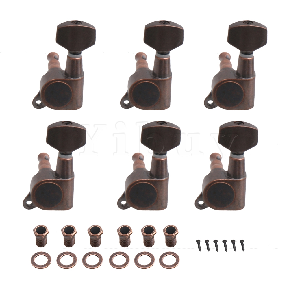 buy yibuy bronze metal fully sealed 6 left machine heads knobs. Black Bedroom Furniture Sets. Home Design Ideas