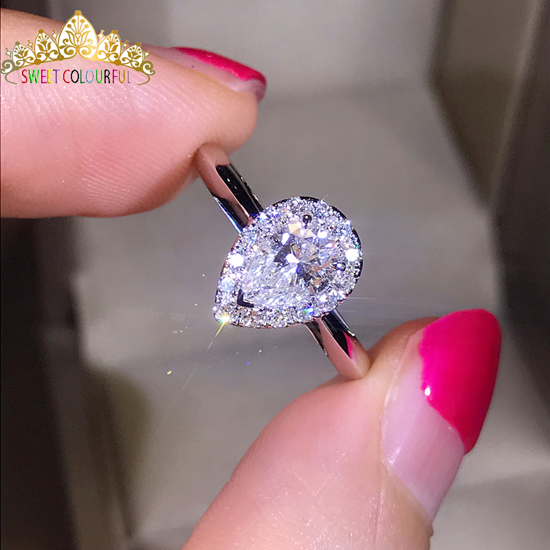 100% 18 K 750Au oro Moissanite diamante anillo de boda D color VVS con certificado nacional MO H1014-in Anillos from Joyería y accesorios    1
