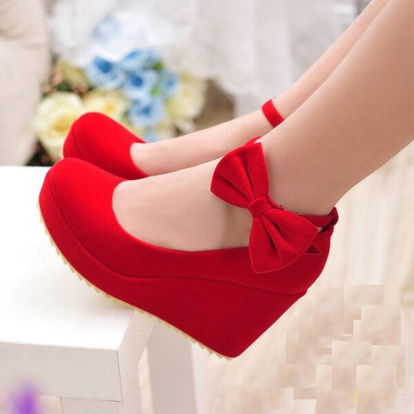 fashion wedges wedding shoes wedges bridal shoes high heeled platform red shoes