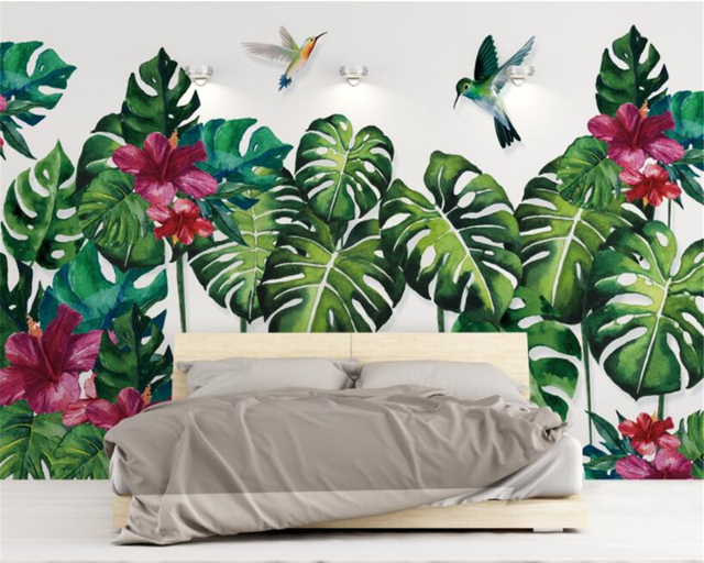 Beibehang Custom Mural Tropical Plant Hummingbird Hand Painted Watercolor Background Wall Wallpaper For Walls 3 D
