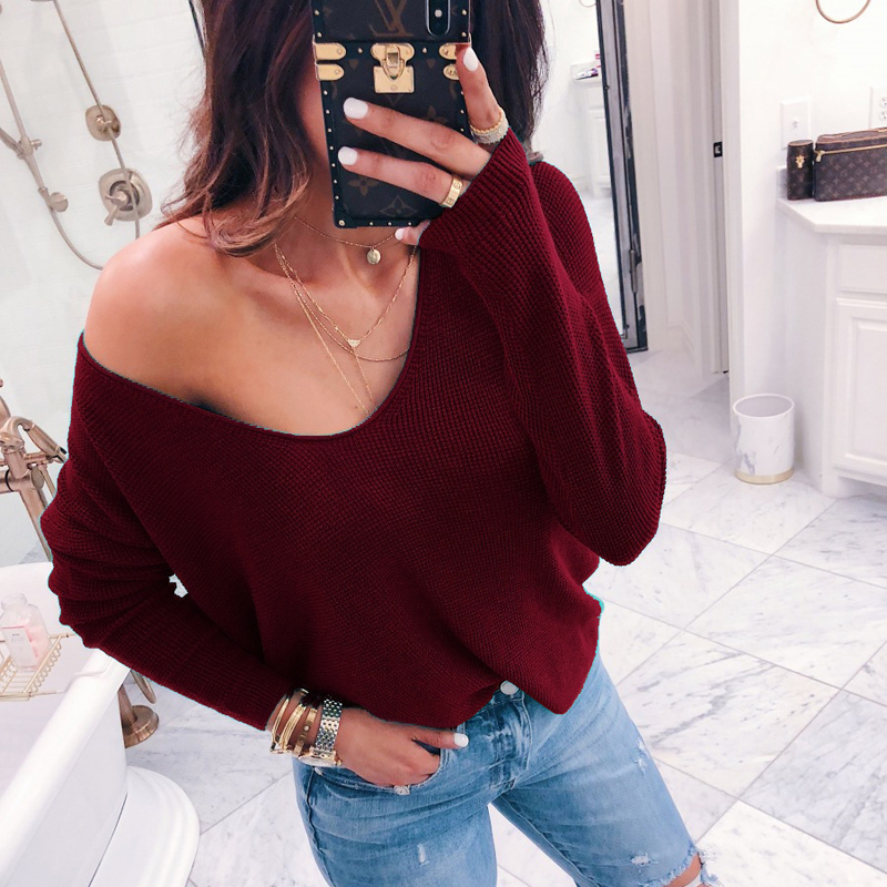 Sexy V neck Off Shoulder Casual Long Sleeve Ribbed Solid Knitted Sweater