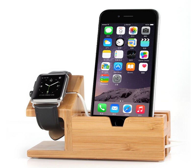 2in1 Luxury Natural Wood Bamboo Charging Dock Stand Holder For Apple iPhone 6/6s /6Plus for Apple watch/ iWatch /iPad black silver u shape aluminium alloy stand docking charger station holder for apple watch iwatch