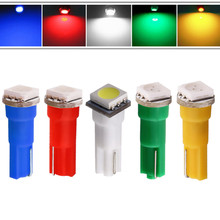 T5 1 SMD 5050 Pure White/Red/Yellow/Blue/Green/Warm White Dashboard Wedge 1 LED Car Light Bulb Lamp Car Interior Lamp 12V стоимость