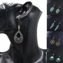 Vintage Ethnic Dangle Drop Earrings for Women Female Hollow Round Leaf Waterdrop Star Bohemia Jewelry